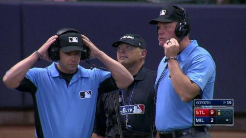 STL@MIL: Ball ruled foul after call overturned