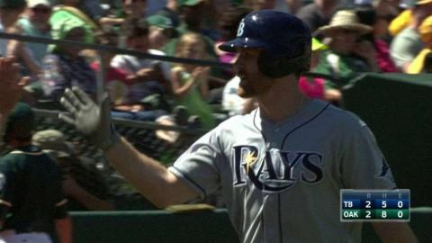 TB@OAK: Forsythe's two-run homer ties game in the 8th