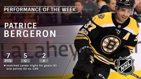 Boston Bruins' Patrice Bergeron is the NHL Star of the Week: Jan. 7th, 2018