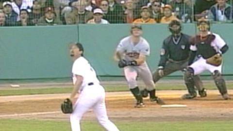 1998 ALDS Gm3: Thome homers off of camera in center