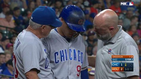 CHC@HOU: Baez gets visit from the trainer, stays in