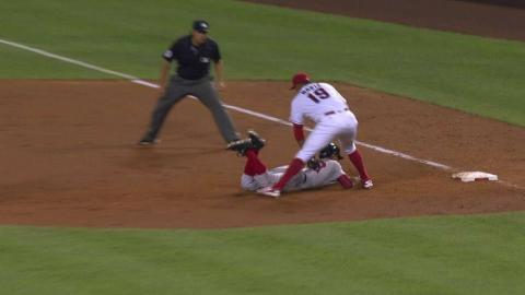BOS@LAA: Smith catches Betts in a rundown in the 8th