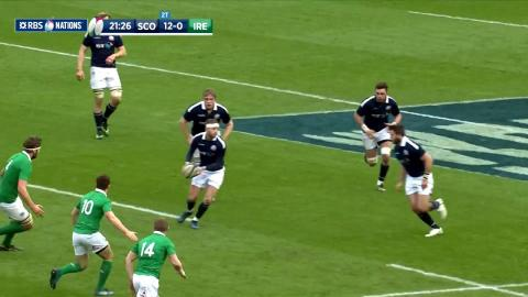 Stuart Hogg scores second try after nice dummy! | RBS 6 Nations
