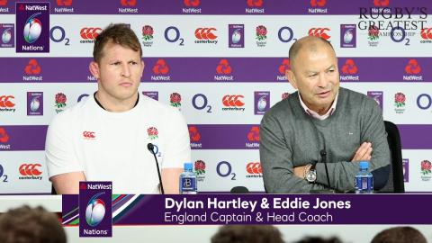Eddie Jones and Dylan Hartley after England v Wales | NatWest 6 Nations