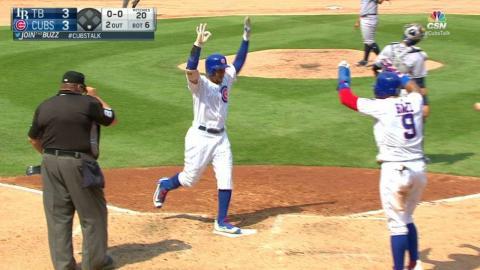 TB@CHC: Jay evens the score with a three-run home run