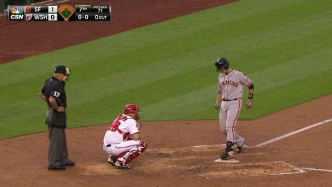 SF@WSH: Posey opens scoring with solo homer to center