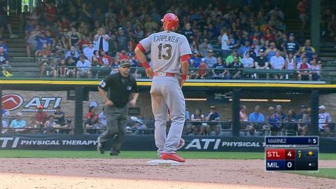 STL@MIL: Carpenter knocks four hits vs. the Brewers