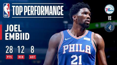 Joel Embiid Scores 28 pts & 8 asts vs Timberwolves