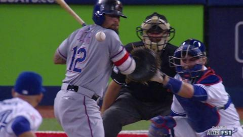 TEX@TOR Gm1: Odor plunked to lead off the 5th inning