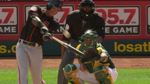 SF@OAK: Adrianza hits a solo home run to right