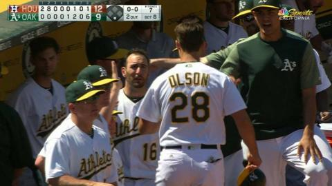 HOU@OAK: Healy grounds out, brings home Olson