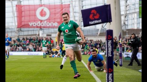 Stockdale scores 70 metre try after great intercept! | NatWest 6 Nations