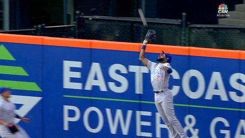 CHC@NYM: Heyward makes a jumping grab at the wall