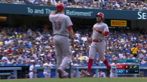 CIN@LAD: Peraza extends the Reds' lead with a sac fly