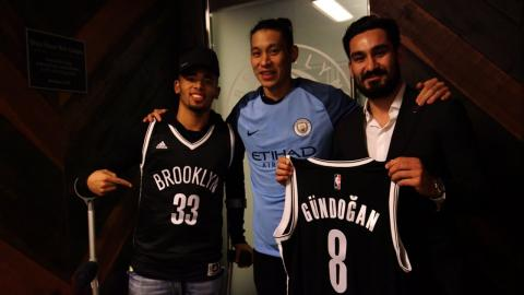 Gabriel Jesus and Ilkay Gundogan Take in a Game in Brooklyn