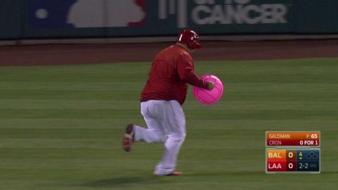 BAL@LAA: Cron takes strike with beach ball on field
