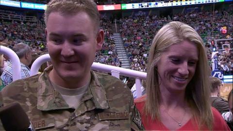 Solider Surprises Family at Utah Jazz Game