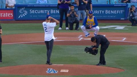 COL@LAD: Lonzo Ball tosses first pitch