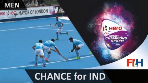 IND 1-0 GBR The ball hits Middleton on the line and it's a penalty stroke #HCT2016