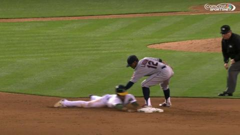 CLE@OAK: Fuld safe at second, call confirmed