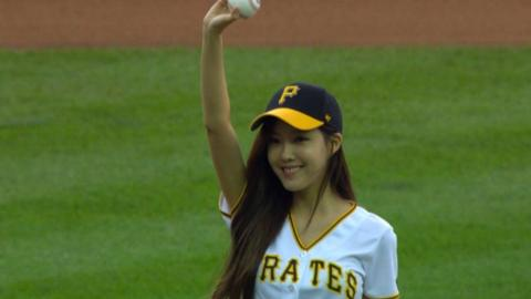 MIL@PIT: T-ara's Hyomin throws out first pitch