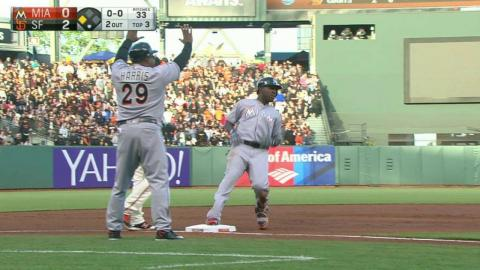 MIA@SF: Ozuna triples in a run in the 3rd inning