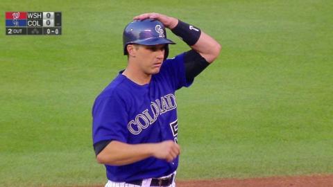WSH@COL: Garnaeu doubles in first Major League at bat