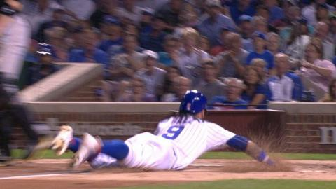 PIT@CHC: Baez breaks for the plate and steals home