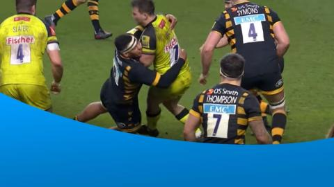 Nathan Hughes lands a big hit on Will Evans