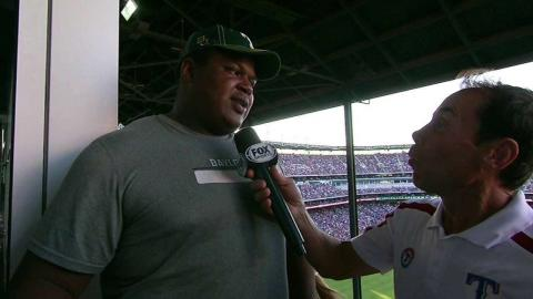 MIN@TEX: LaQuan McGowan on his ceremonial first pitch
