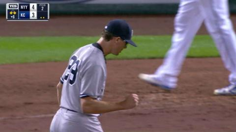 NYY@KC: Yankees turn a double play to escape jam