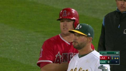 LAA@OAK: Trout's single extends the lead in the 5th