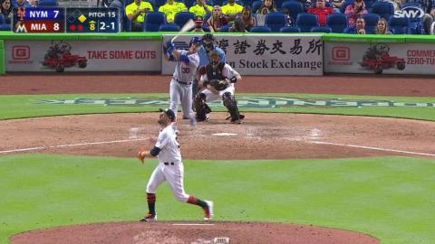 NYM@MIA: Conforto hits game-tying RBI double into gap