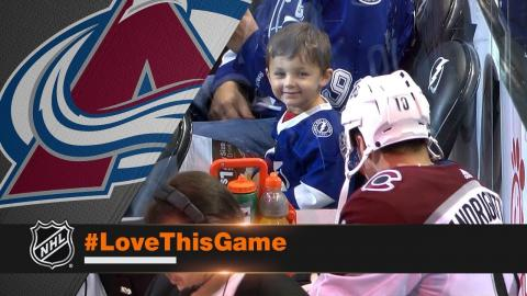 Avalanche's Sven Andrighetto makes a new friend in the penalty box