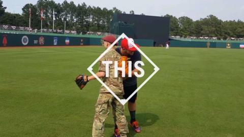 Playing catch at #MLBFortBragg #THIS