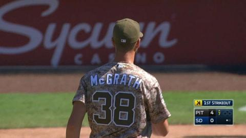 PIT@SD: McGrath fans Cole in his debut