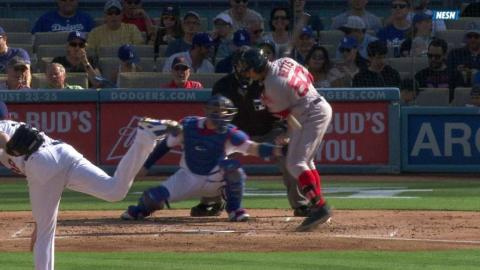 BOS@LAD: Betts hit by a pitch, remains in the game
