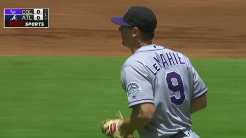 COL@ATL: LeMahieu catches liner, doubles off Peterson