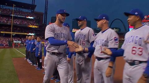 CHC@STL: Cubs are introduced at Busch Stadium