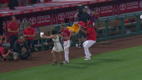 LAD@LAA: Revere gets drenched, discusses walk-off win