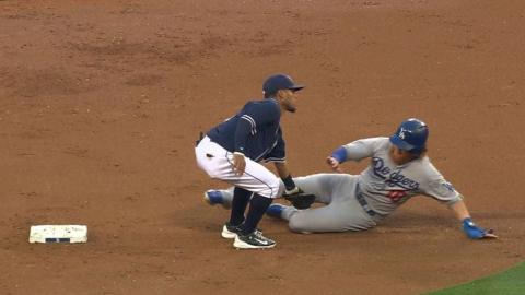LAD@SD: Norris throws out Turner at second base
