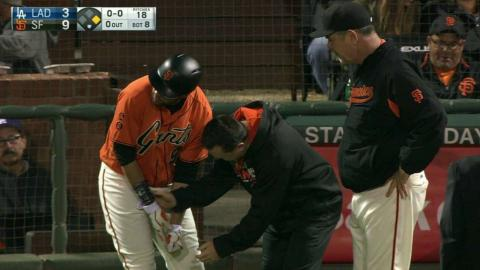 LAD@SF: Belt hit by pitch on hand, remains in game