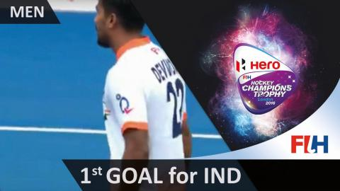 BEL 1-1 IND Walmiki hammers the ball high into the net to equalise for India #HCT2016