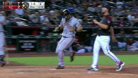 SF@ARI: Pagan crosses the dish on a passed ball