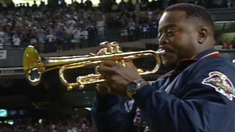 2001WS Gm7: Trumpeter McGuire performs anthem