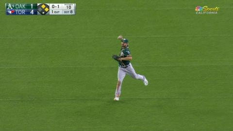 OAK@TOR: Joyce catches fly ball, doubles up Tulo