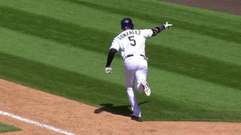 SEA@COL: CarGo evens the score with a three-run homer