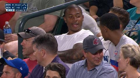 BOS@SEA: Isaiah Thomas takes in the game in Seattle