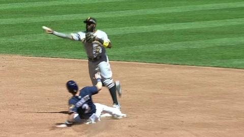 PIT@MIL: Pirates turn double play, call confirmed