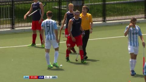 USA 0-3 ARG Argentina win a penalty flick at a penalty corner and Casella puts it away #JrPanam2016